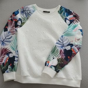 SHEIN white with print sleeve pullover sweater
